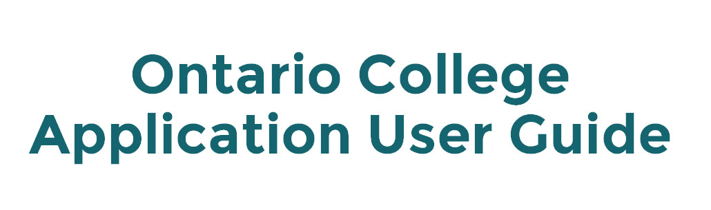 Ontario College Application User Guide