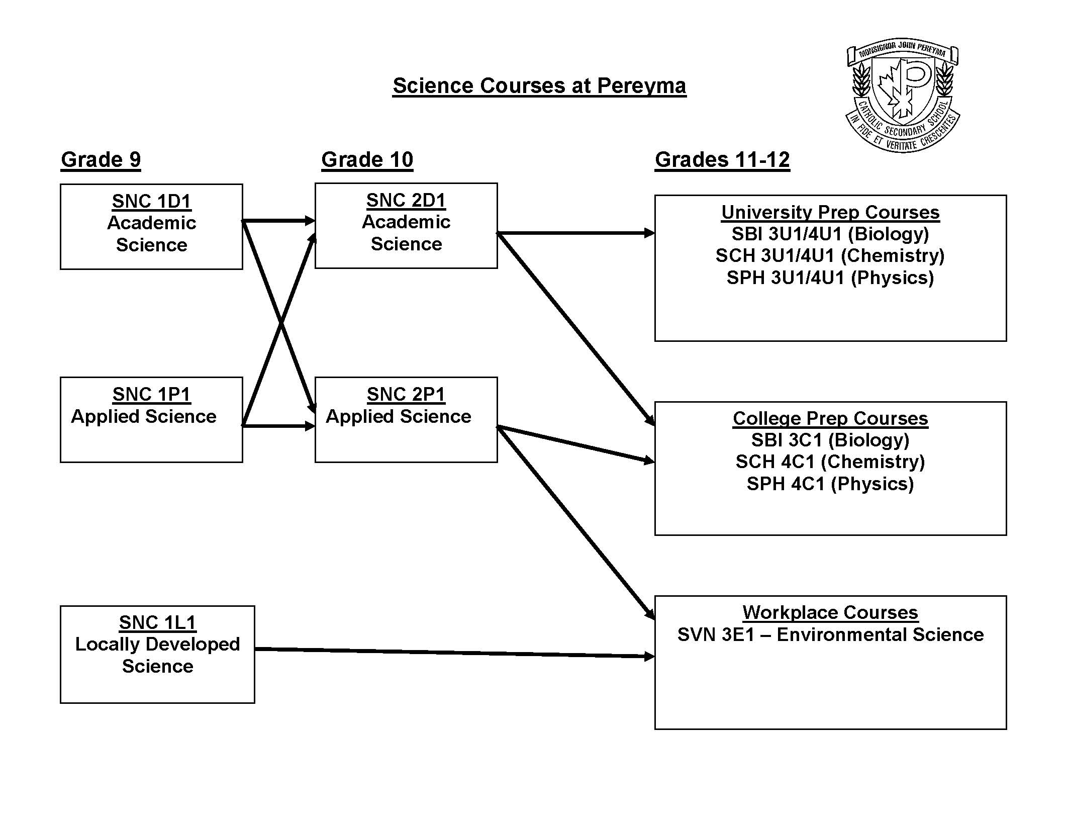 Diagram of Science Courses available at high school